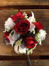 Red and Black Wrist Corsage