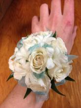 Wrist Corsage white and aqua